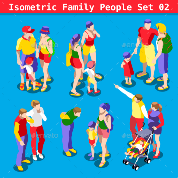 Family Set 02 People Isometric - People Characters
