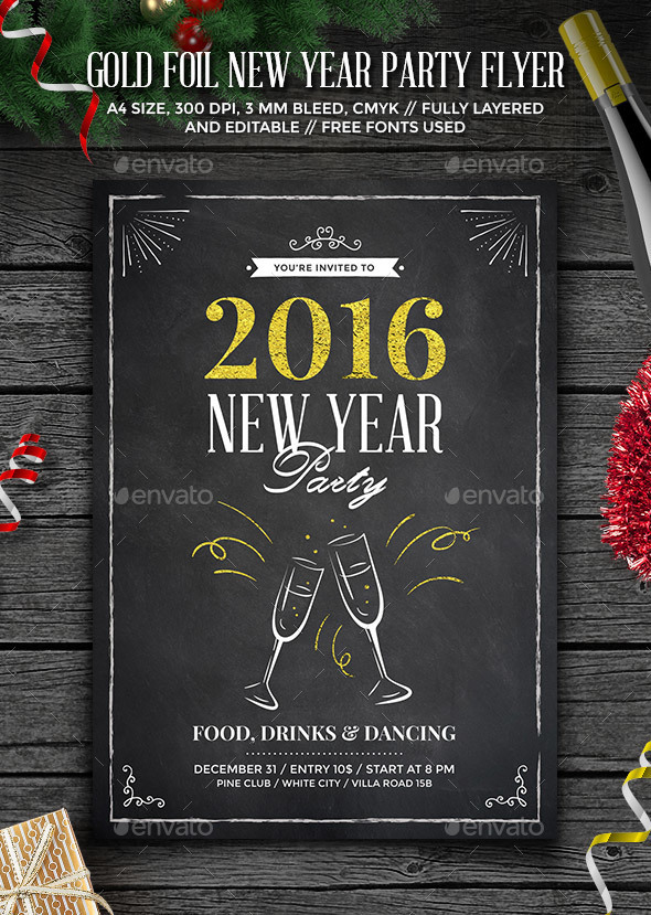 Gold Foil New Year Party Flyer - Clubs & Parties Events
