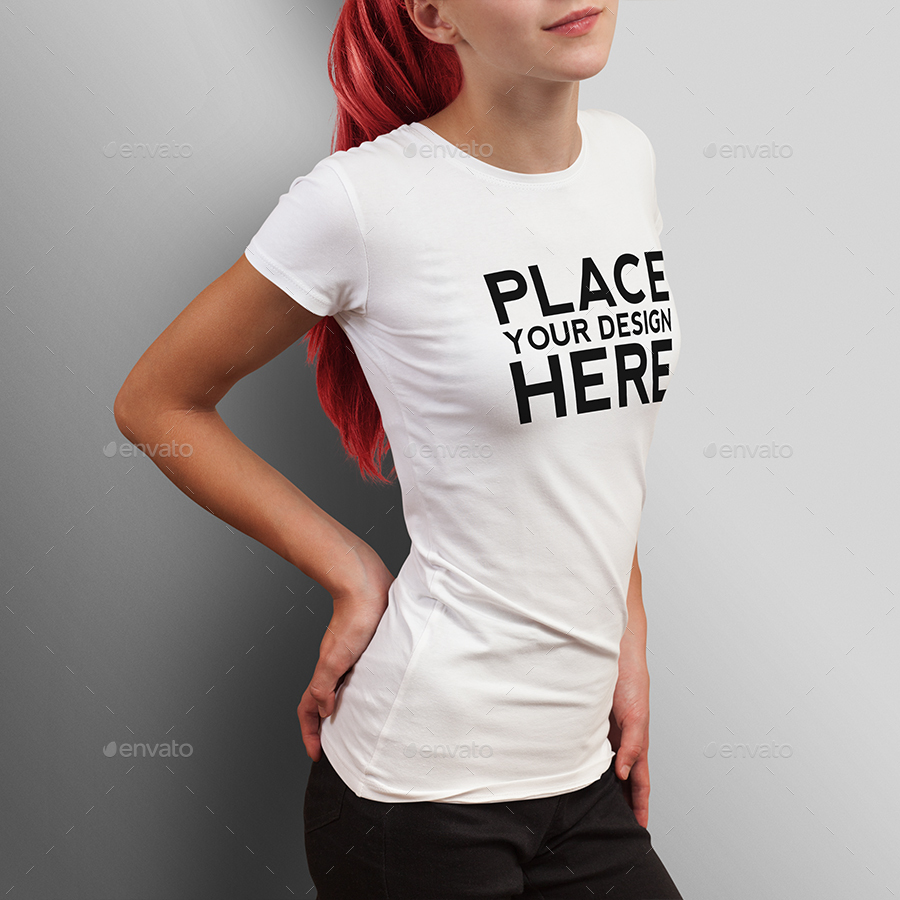T shirt white mockup - Teenage Girl T Shirt Mock Up