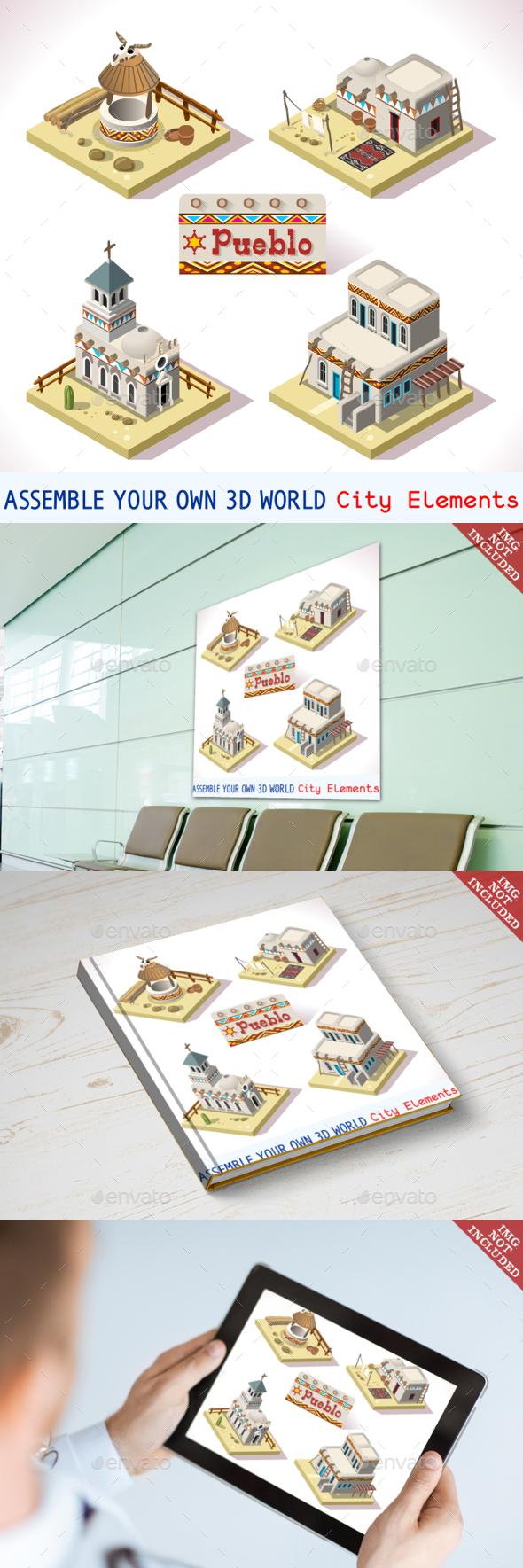 Pueblo Tiles 02 Set Isometric - Buildings Objects
