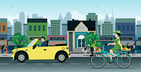 Bicycles on the Road - Sports/Activity Conceptual
