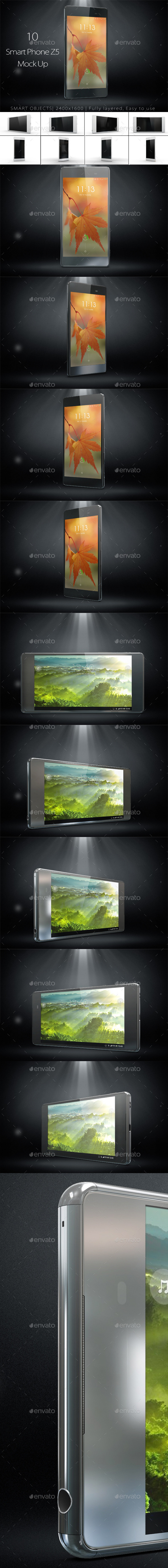 10 Phone Z5 Mock Up - Mobile Displays