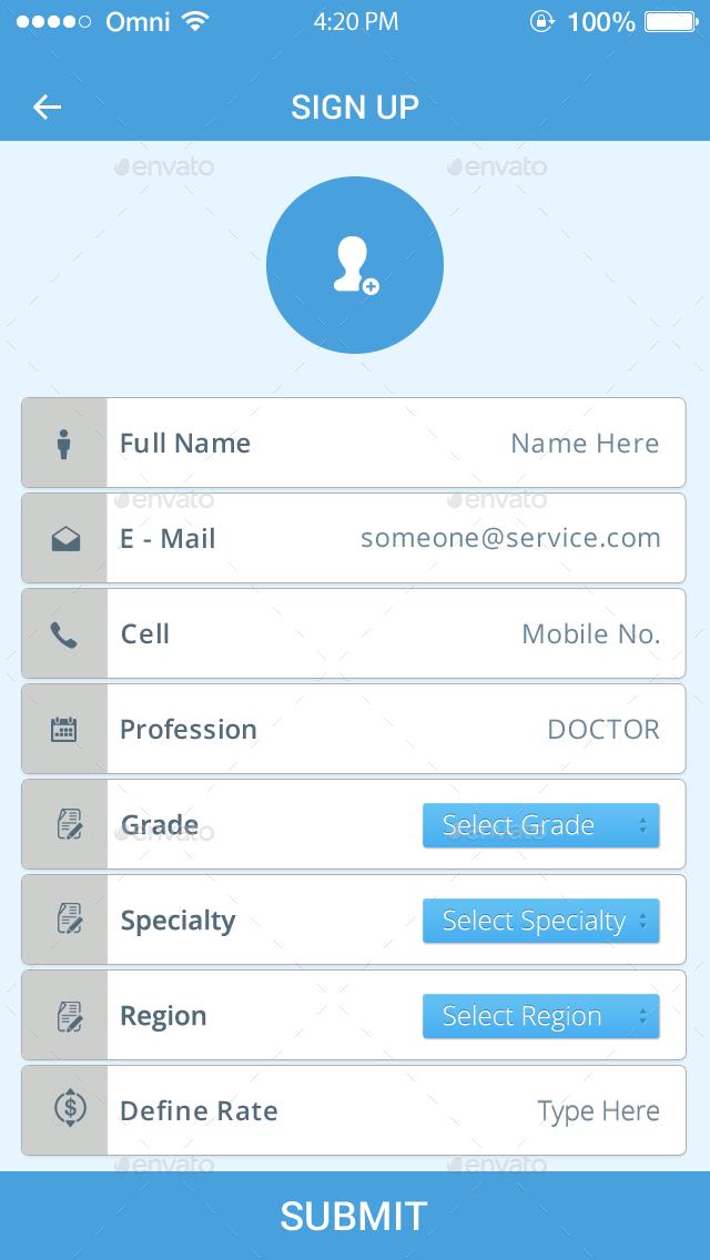 Locum Quest Doctors - Flat Mobile App Design by digi_dezigns ...