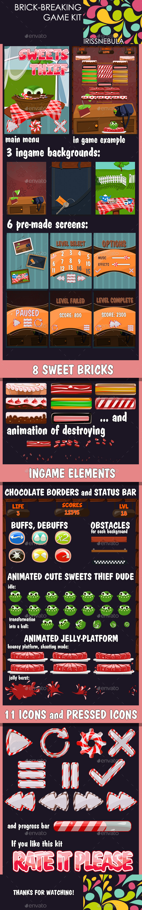Brick Breaking Game Kit. Sweets Thief - Game Kits Game Assets