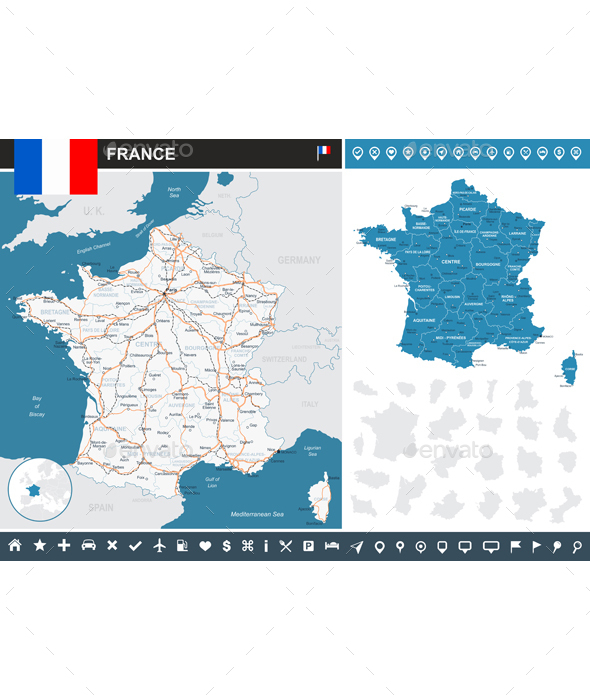 France Infographic Map - Illustration. - Travel Conceptual