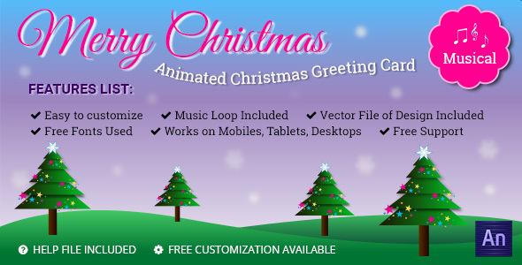 Musical Animated Greeting Card - Merry Christmas - CodeCanyon Item for Sale