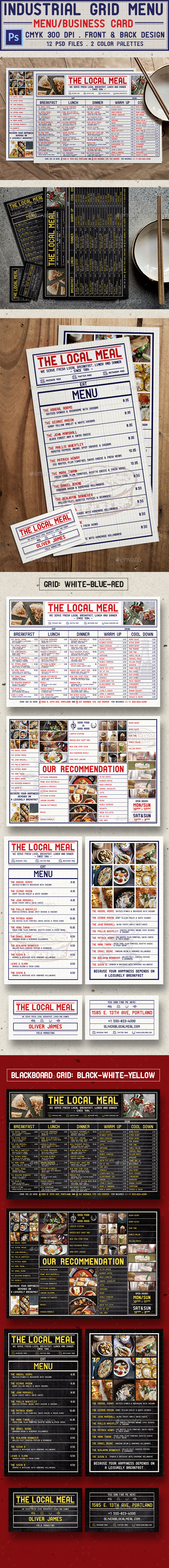 Industrial Grid Menu - Food Menus Print Templates