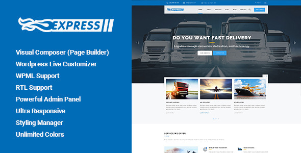 Express – Transports and Logistics WordPress Theme