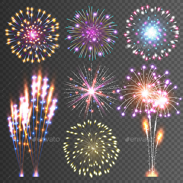 Festive Vector Isolated Firework - Seasons/Holidays Conceptual