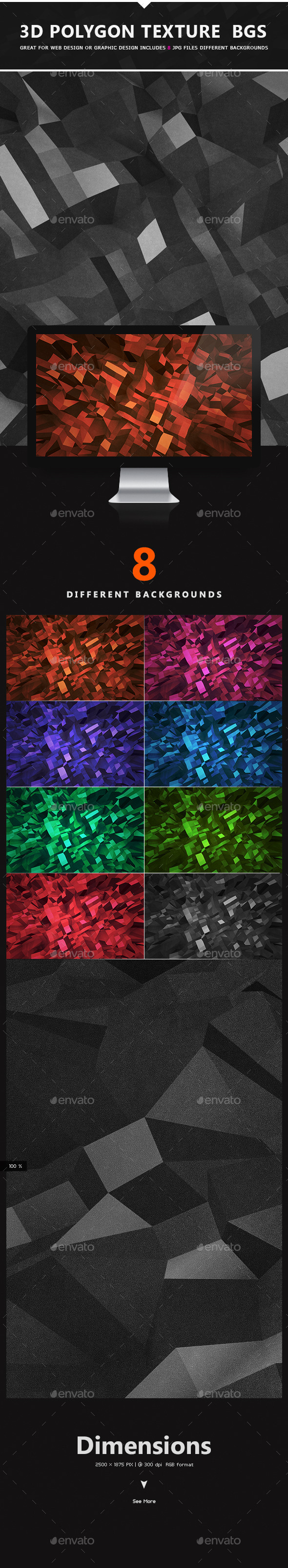 3D Polygon Texture Backgrounds - Abstract Backgrounds