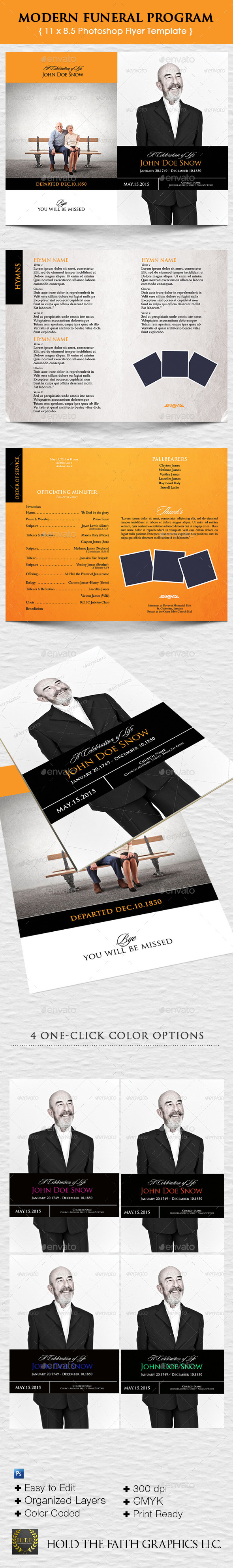 Modern Funeral Program - Brochures Print Templates