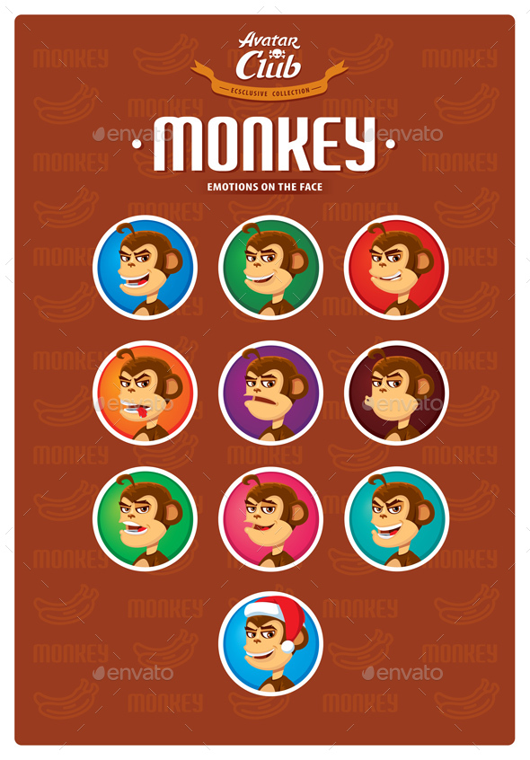 Monkey Avatar Emotions on the Face - Animals Characters