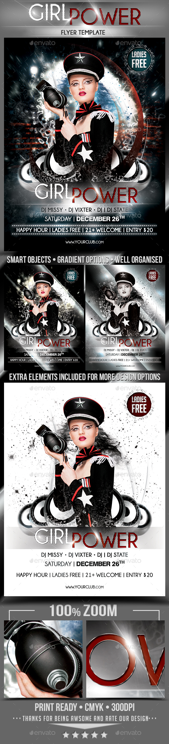 Girl Power Flyer Template - Clubs & Parties Events