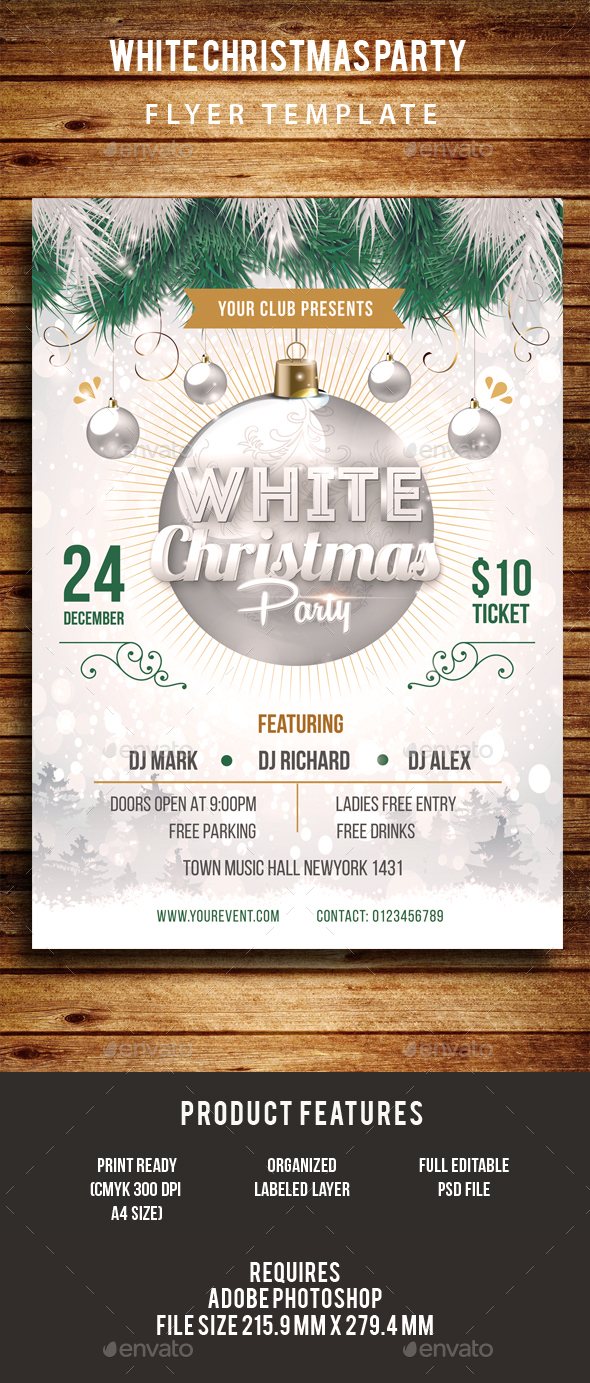 White Christmas Party Flyer - Events Flyers
