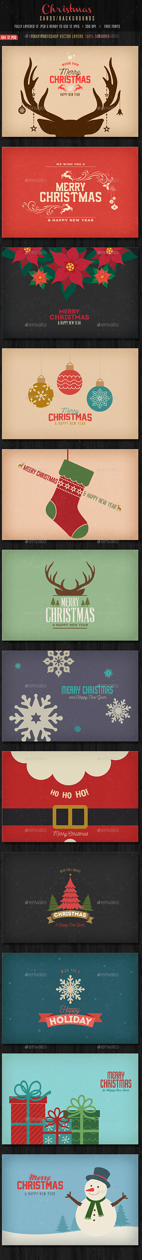 Vintage Christmas Backgrounds / Cards - Backgrounds Graphics