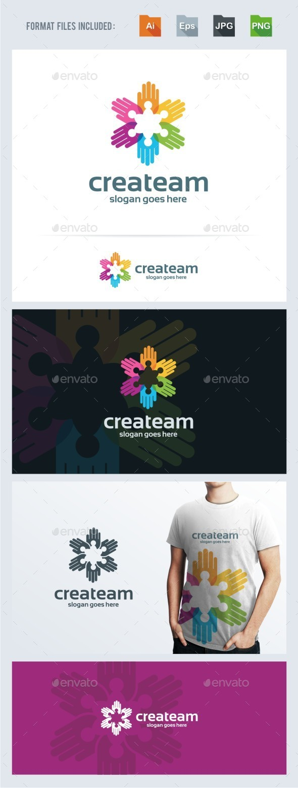 Creative Crowd - Hands Logo Template - Humans Logo Templates