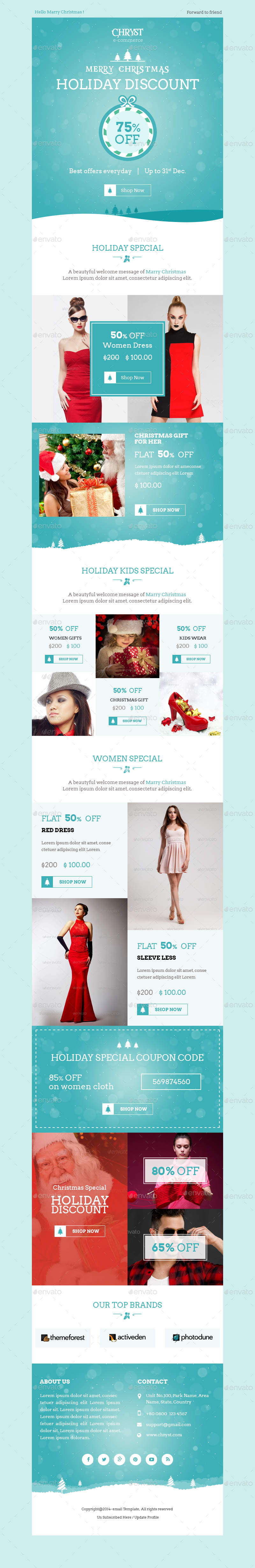 Christmas Shopping Offers ECommerce Newsletter By Kalanidhithemes - Special offer email template