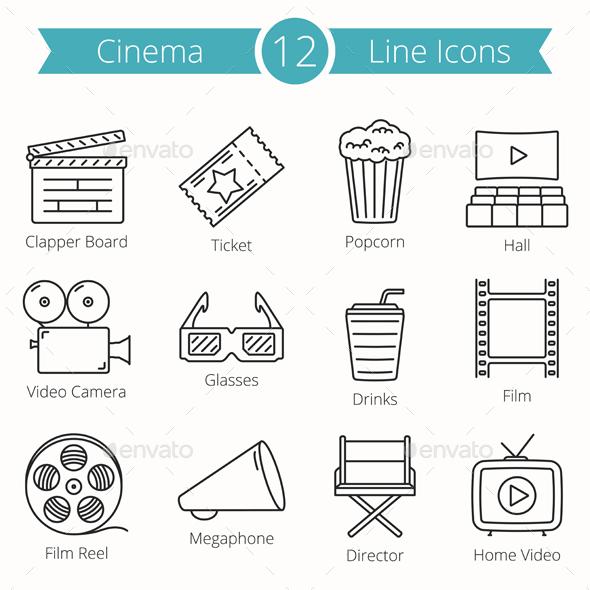 Cinema Line Icons - Media Icons