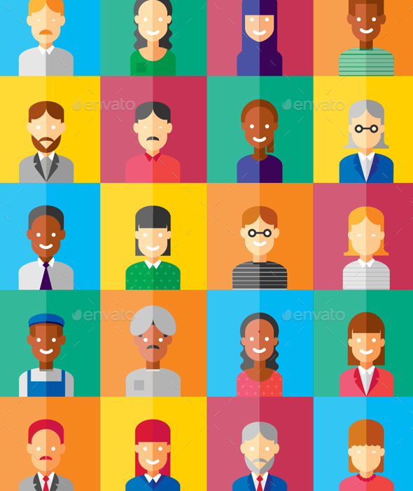 20 Flat Geometric Portrait Avatar Icons - People Illustrations