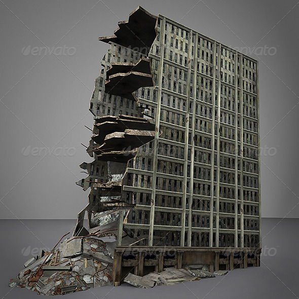 3D Destroyed building - 3DOcean Item for Sale