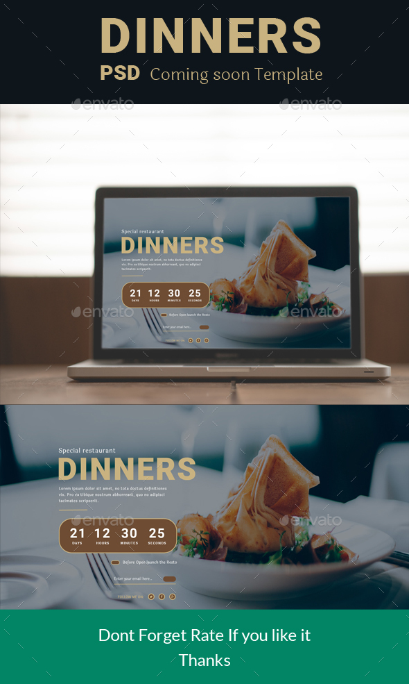 Dinners Coming Soon Restaurant - 404 Pages Web Elements