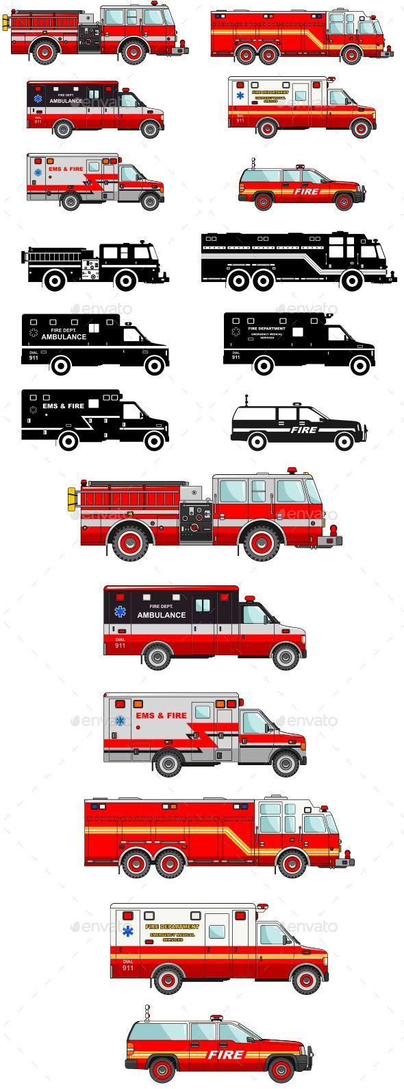Fire Trucks And Ambulance Cars In Flat Style - Man-made Objects Objects