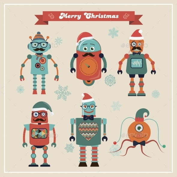 Set Of Cute Retro Vintage Hipster Christmas Robots - Monsters Characters