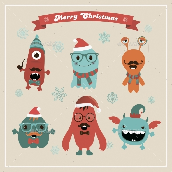 Vector Cute Retro Hipster Christmas Monsters Set - Monsters Characters
