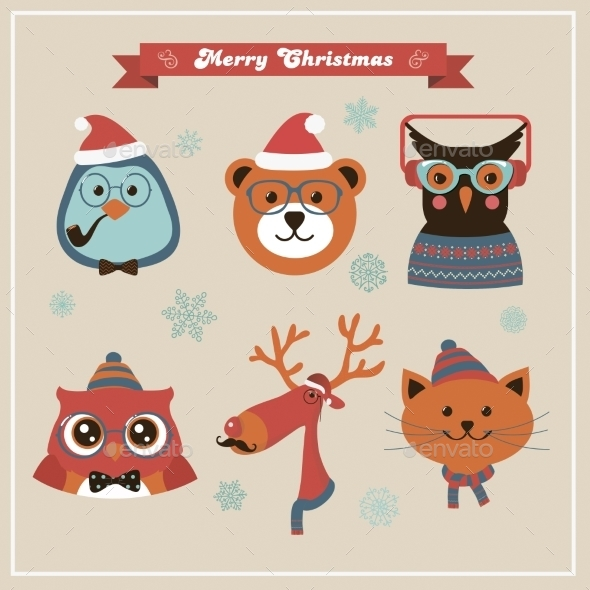 Cute Christmas Fashion Hipster Animals And Pets - Halloween Seasons/Holidays