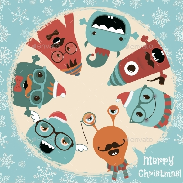 Hipster Retro Freaky Monsters Christmas Card - Christmas Seasons/Holidays