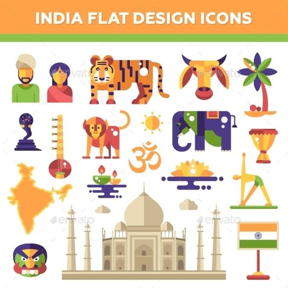 Set Of Flat Design India Travel Icons - Travel Conceptual