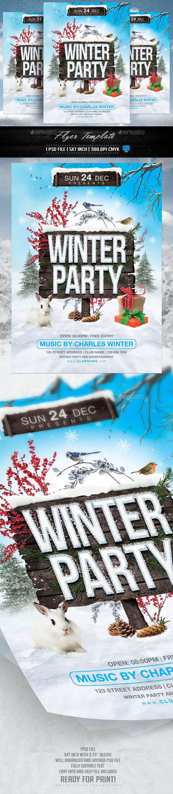 Winter Party Flyer Template v2 - Clubs & Parties Events