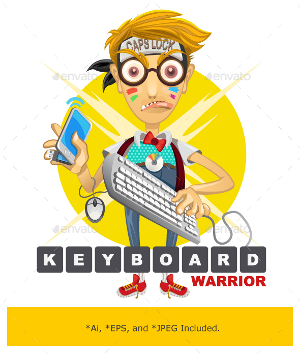 Nerd Geek Keyboard Warrior Illustration - People Characters