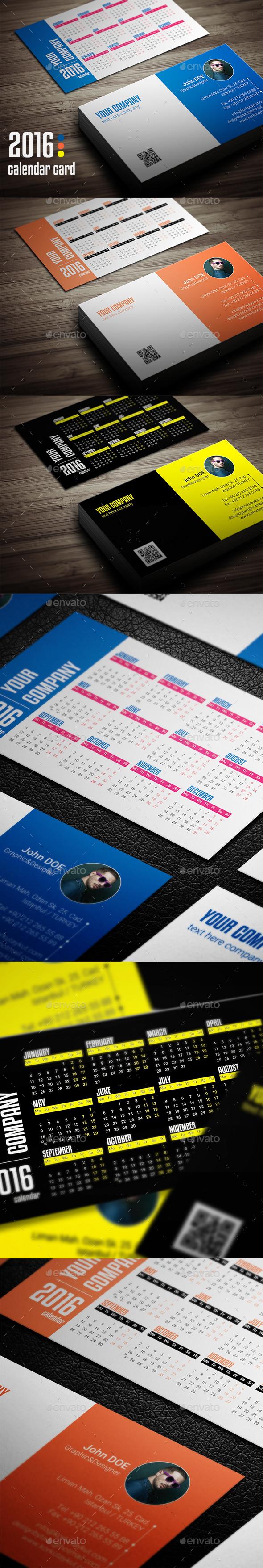 Calendar 2016 Business Card - Business Cards Print Templates