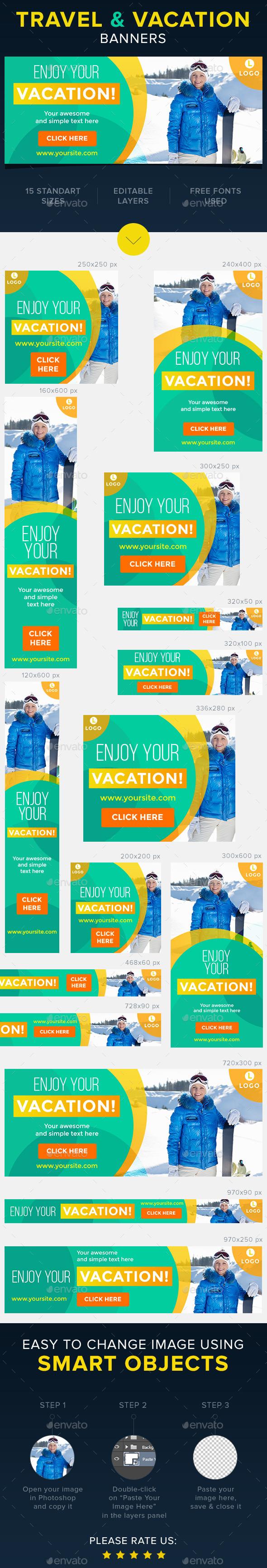 Travel & Vacation Banners - Banners & Ads Web Elements