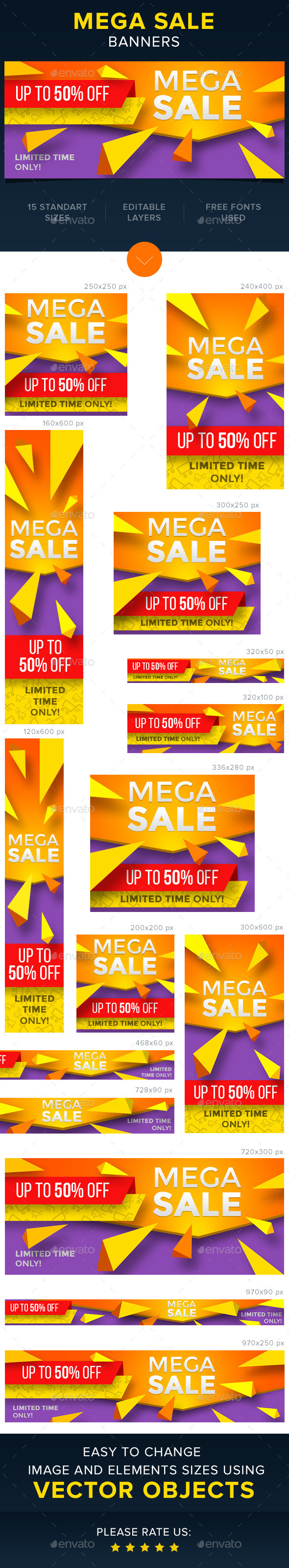Mega Sale Banners - Banners & Ads Web Elements