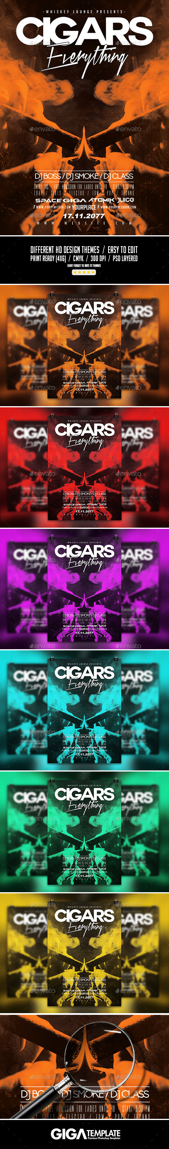 Cigars Everything | Luxury Chic Flyer PSD Template - Events Flyers