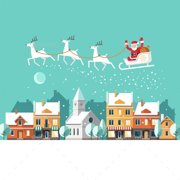 Santa on Sleigh and his Reindeers Winter Town - Christmas Seasons/Holidays