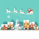 Santa on Sleigh and his Reindeers Winter Town - GraphicRiver Item for Sale
