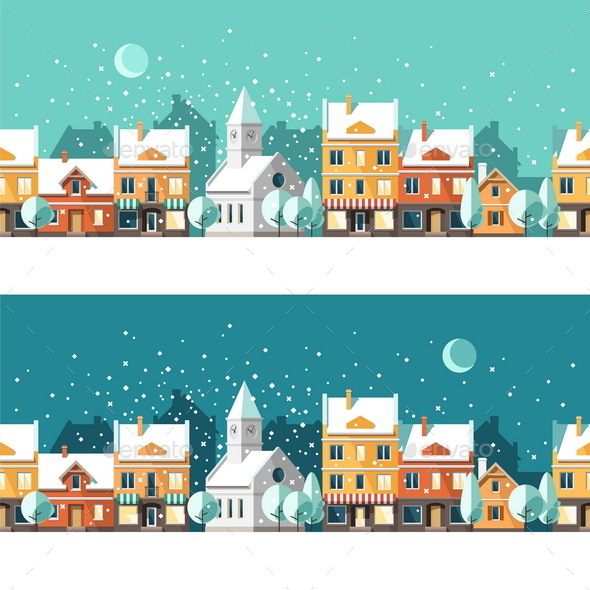 Winter Town Urban Winter landscape Cityscape - Christmas Seasons/Holidays