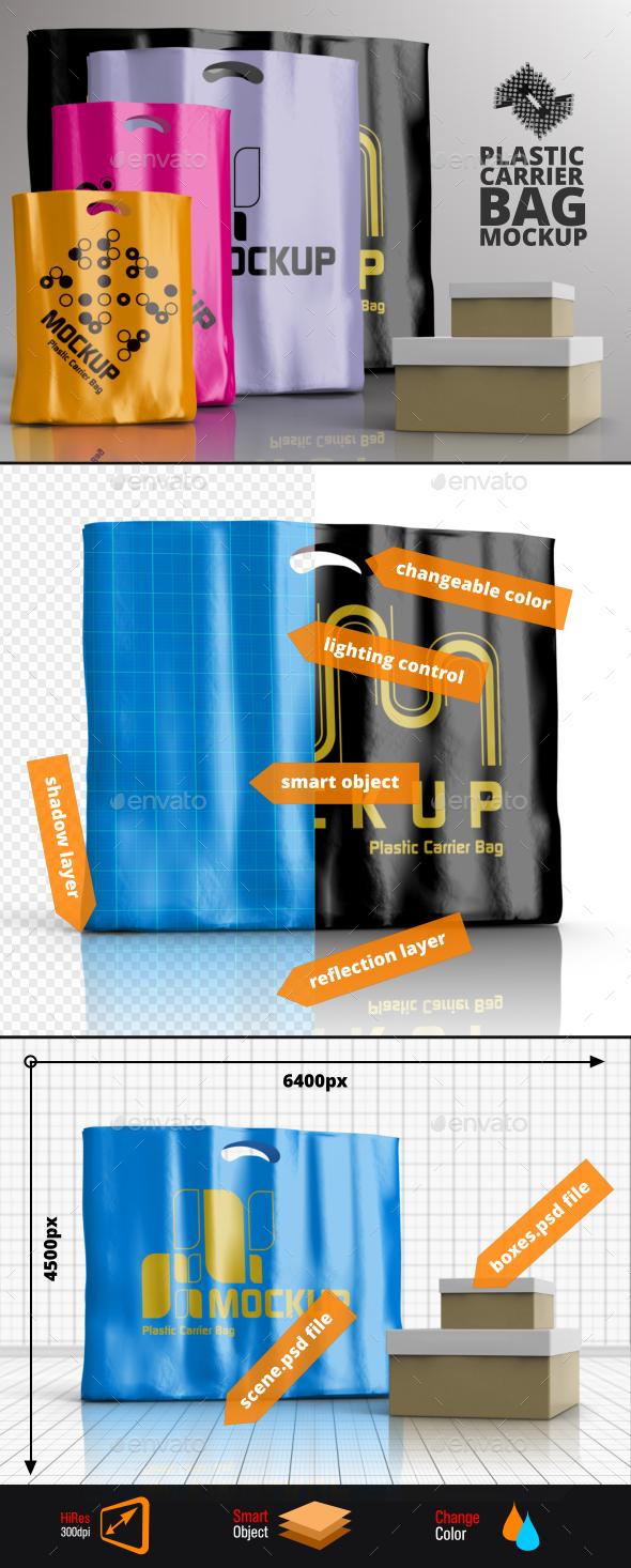 4 Plastic Carrier Shopping Bag Mockups - Packaging Product Mock-Ups
