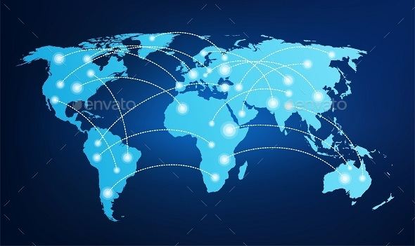 World map with global connections by ramcreativ graphicriver for Global design company