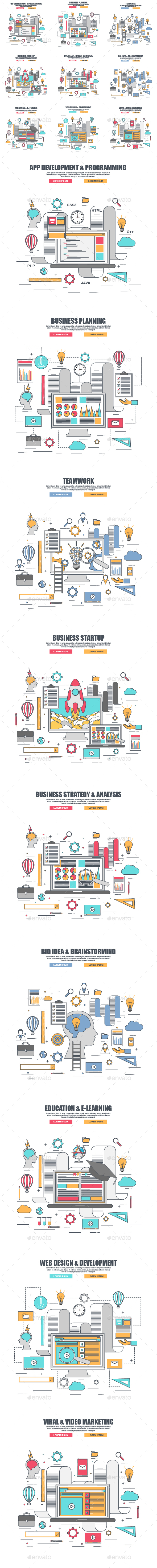 Set of Thin Line Business Concept - Concepts Business