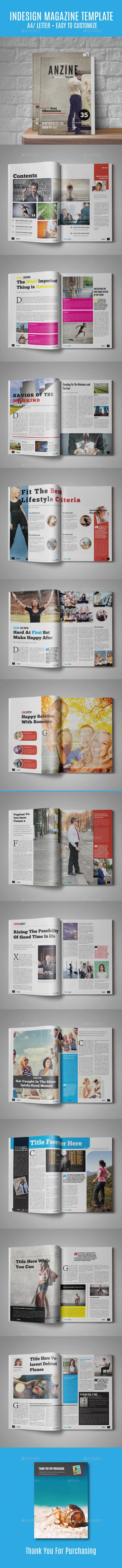 Anzine Magazine Template - Magazines Print Templates