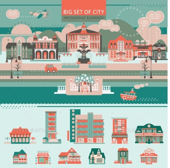 Big Set With City Infographic Objects.  - Landscapes Nature
