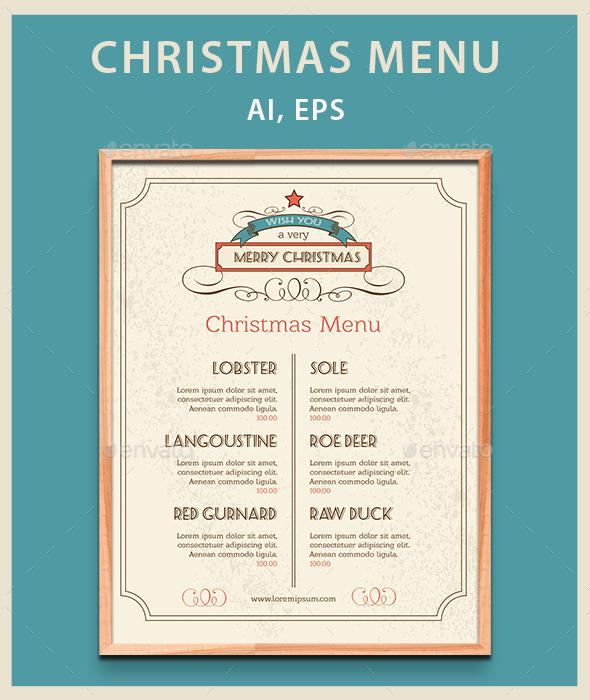 Christmas Food Menu - Food Menus Print Templates