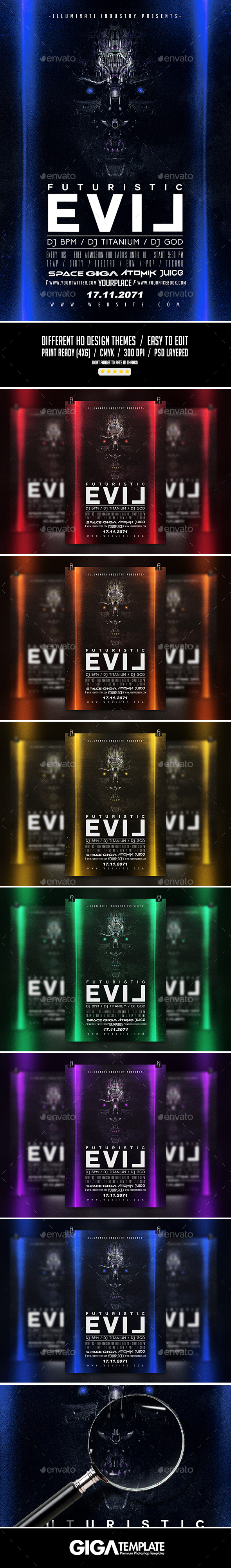 Futuristic Evil | Dark Modern Flyer PSD Template - Events Flyers