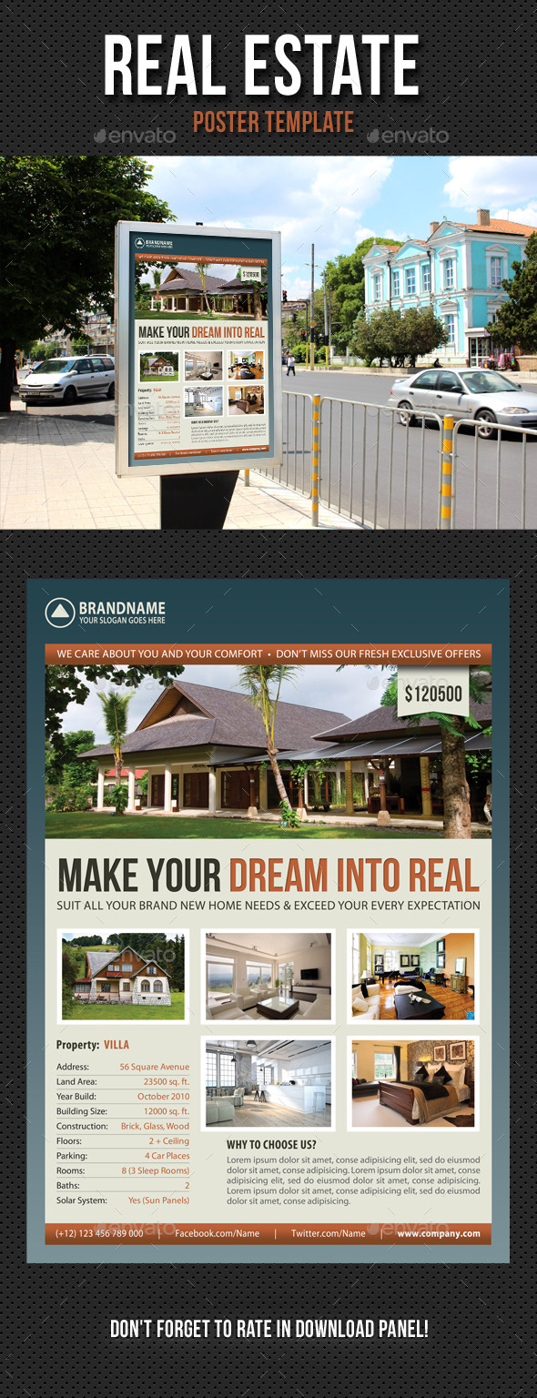 Real Estate Agency Poster Template 03 - Signage Print Templates
