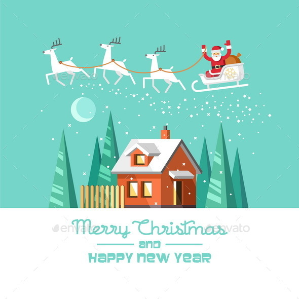 Santa on Sleigh and his Reindeers Winter House - Christmas Seasons/Holidays