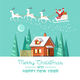 Santa on Sleigh and his Reindeers Winter House - GraphicRiver Item for Sale
